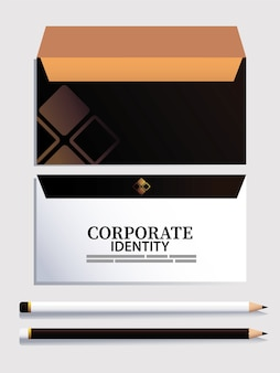 브랜드 일러스트 디자인 요소가있는 봉투 및 연필