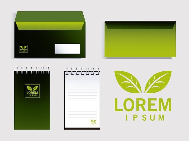 企業イラストデザインのブランドアイデンティティの要素を封筒します。