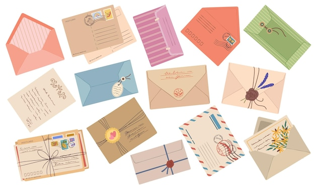 Конверты бумажные почтовые письма открытки с набором векторных марок и почтовых штемпелей