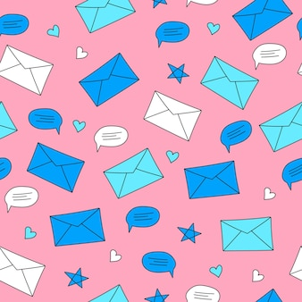 Envelopes and speech bubbles on a pink background. seamless pattern in hand-drawn style. correspondence, chat and communication concept