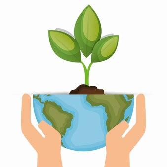 エンバイロメンタルシンボル手を保持する世界と植物
