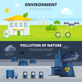 Environment And Pollution Banners Set