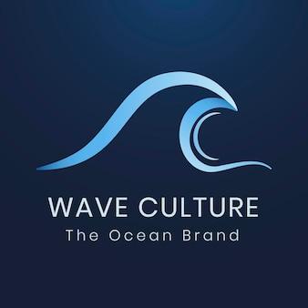 環境ビジネスロゴテンプレート、青のモダンな水デザインベクトル
