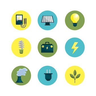 Environment buttons icons to care planet