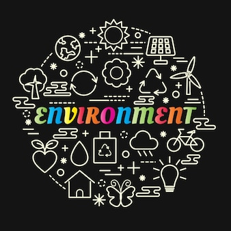 Environment colorful gradient with line icons set