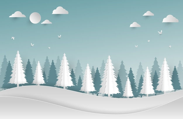 Environment concept artwork.paper art and digital craft style