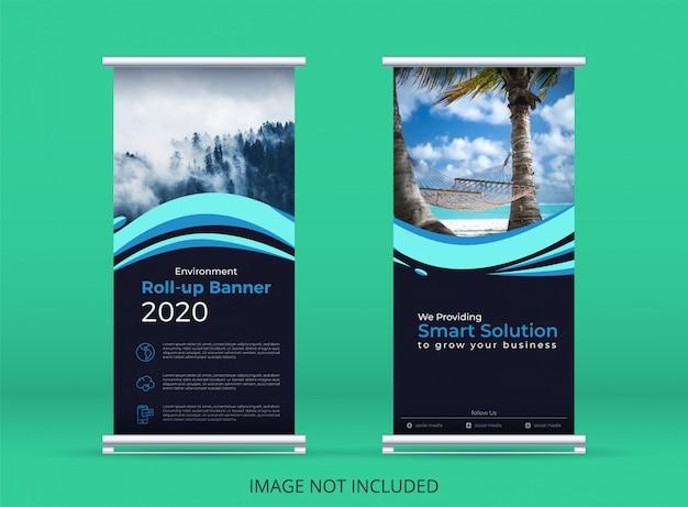 Концепция окружающей среды вертикальный баннер или свернуть баннер шаблон с мотивами голубая волна.