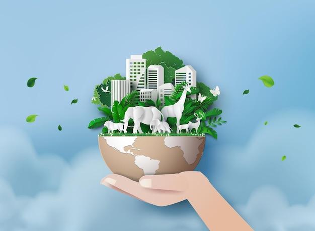 Концепция окружающей среды с животными в лесу и зеленом городе. вырезка из бумаги и стиль цифрового ремесла.