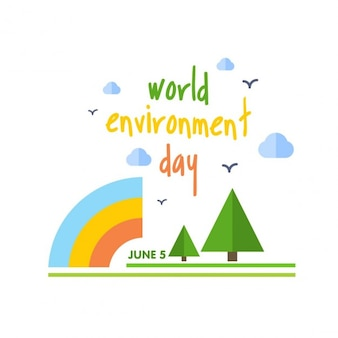 Environment day background with rainbow