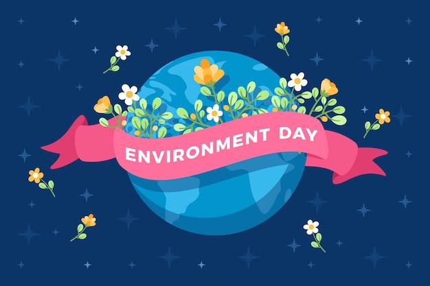 花と環境デーフラットデザイン地球