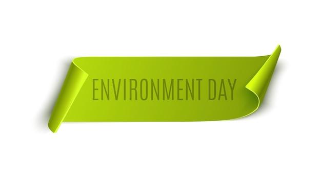 День окружающей среды зеленый тег, изолированные на белом фоне