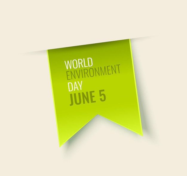 Environment day green tag isolated on white