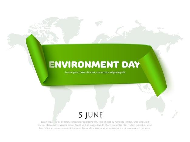 世界地図背景とテキスト用のスペースと環境の日紙リボンバナー。環境デーのコンセプトバナー。