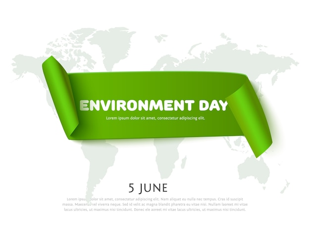 Environment day paper ribbon banner with world map background and space for text. concept banner for environment day.