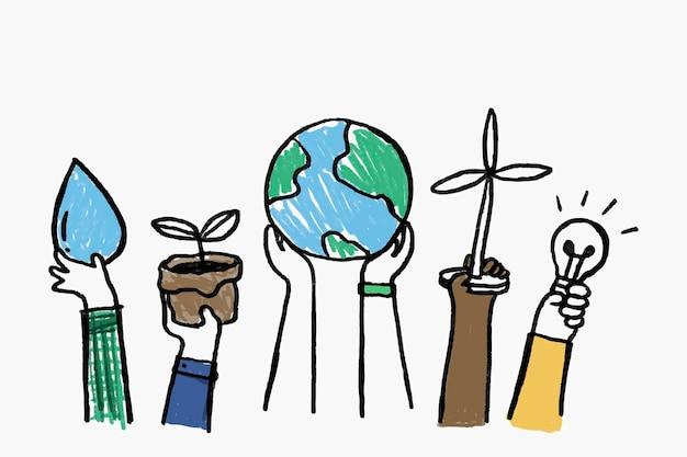 환경 낙서 벡터, 신 재생 에너지 개념