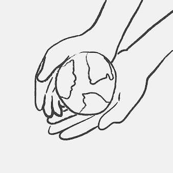 Vettore di doodle dell'ambiente, con globo che tiene la mano