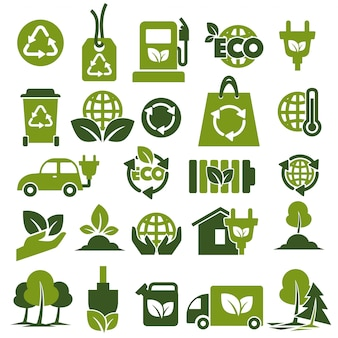Environment protection and recycling themed green icons set