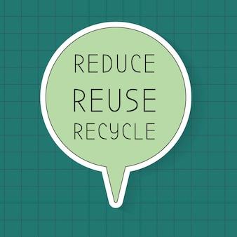 Vettore del modello del fumetto dell'ambiente, ridurre, riutilizzare, riciclare il testo