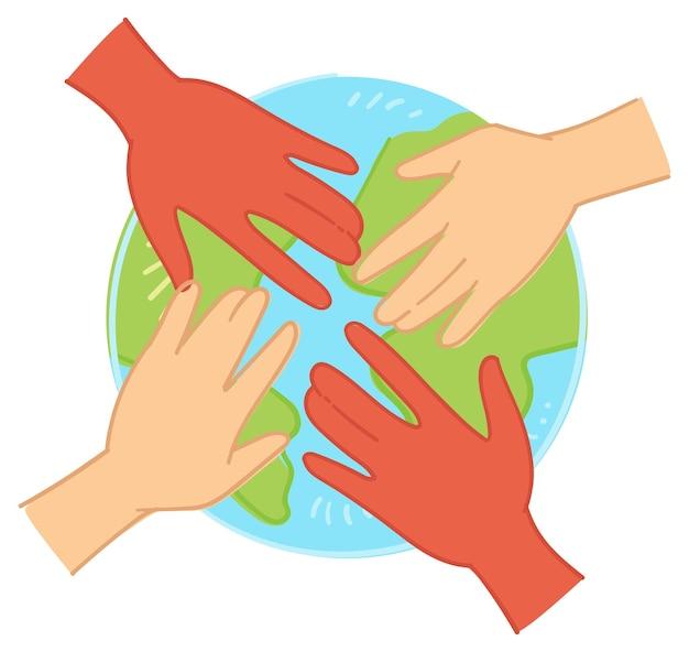Забота об окружающей среде и единство человечества вектор