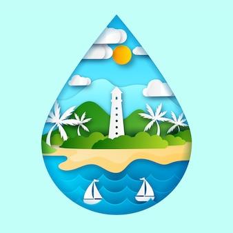 Экологическая концепция в бумажном стиле с пляжем