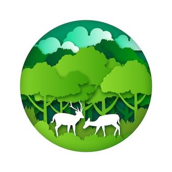 森のある紙風の環境コンセプト