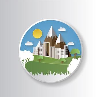 Экологическая концепция в стиле бумаги с горами