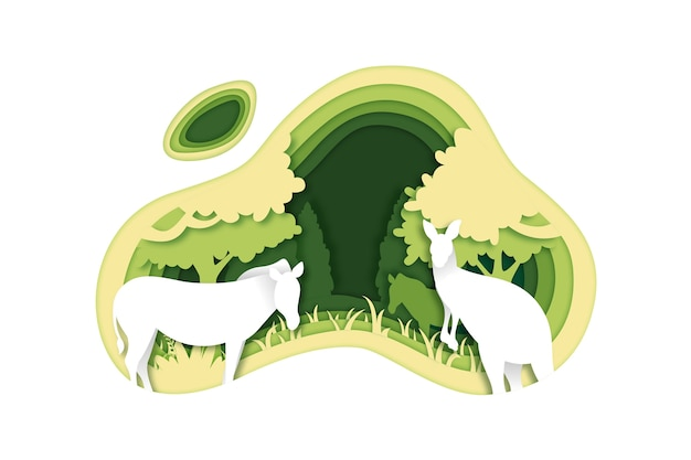 Environmental concept in paper style with animals