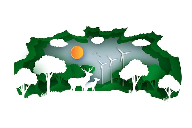 Environmental concept in paper style with forest and animals