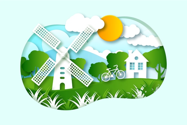 Environmental concept in paper style with house and windmill