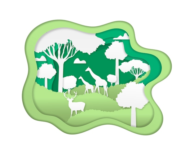 Environmental concept in paper style