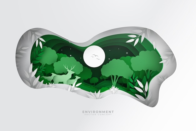 Environmental concept with animals in nature in paper style