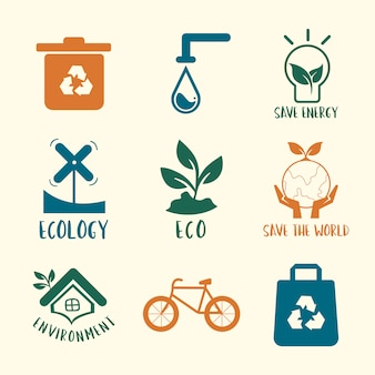 Environmental conservation symbol set illustration Free Vector