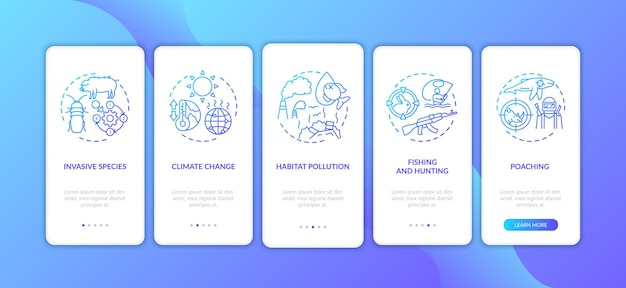Ущерб окружающей среде темно-синий экран страницы мобильного приложения с концепциями