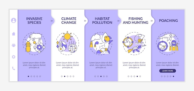 Environmental damage onboarding template isolated illustrations