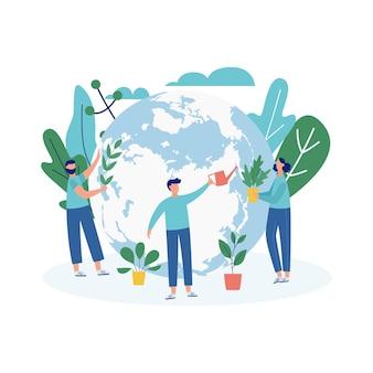 世界の地球儀と生態学者が木や緑の植物を植えて水をまく環境生態学的バナー