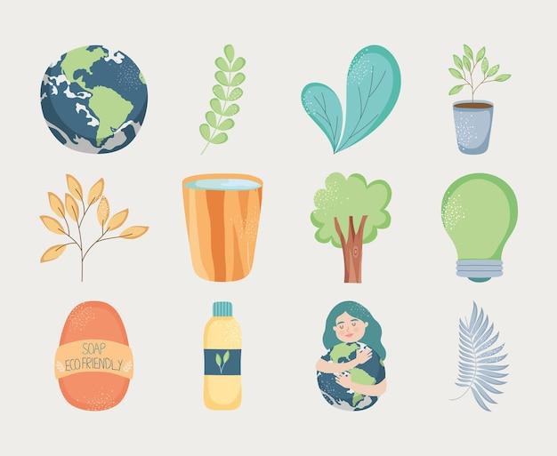 Environmental icon set on gray background