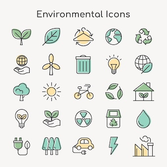 Icone ambientali per il business nel set di linee semplici verdi