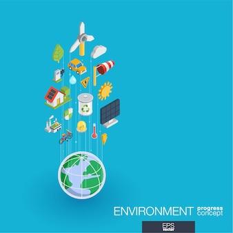 環境統合webアイコン。デジタルネットワーク等尺性進行状況の概念。コネクテッドグラフィックライン成長システム。エコロジー、リサイクル、エネルギーの抽象的な背景。インフォグラフ