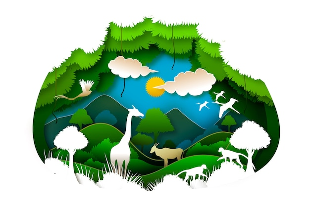 Environmental nature and sun concept in paper style
