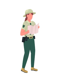 Environmental police female officer flat color faceless character. ranger in uniform with map. law enforcement woman isolated cartoon illustration for web graphic design and animation