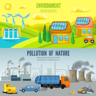 Environmental pollution cartoon horizontal banners
