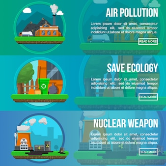 Environmental pollution colored banner set