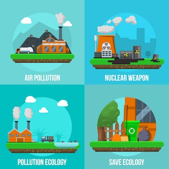 Environmental pollution colored elements set