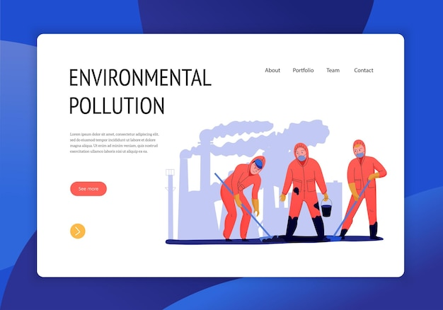 Environmental pollution concept landing page