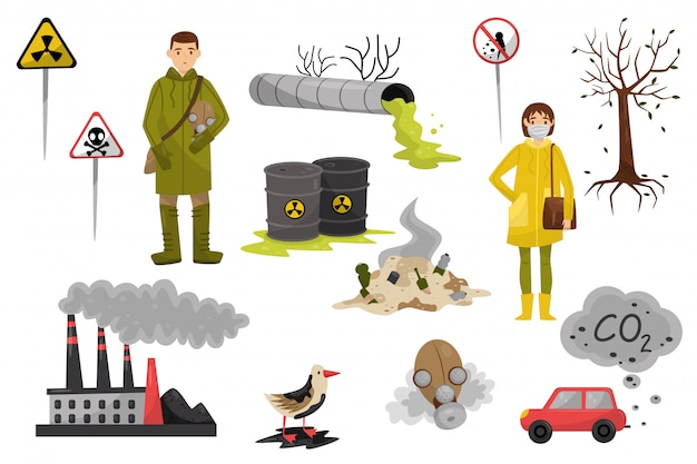 Environmental pollution problems set, pollution of air and water, deforestation, warning signs  illustrations on a white background