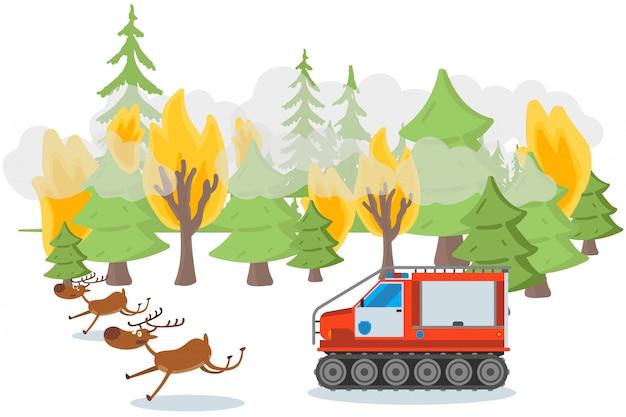 Загрязнение окружающей среды отслеживается результат, иллюстрации. лесной пожар, лесные деревья в огне, характерные животные убегают, чтобы убежать