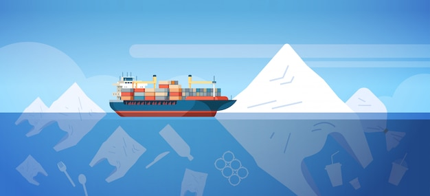 Environmental problem of plastic rubbish pollution in ocean with container ship bags and other polluting waste floating underwater surface save the earth concept flat horizontal