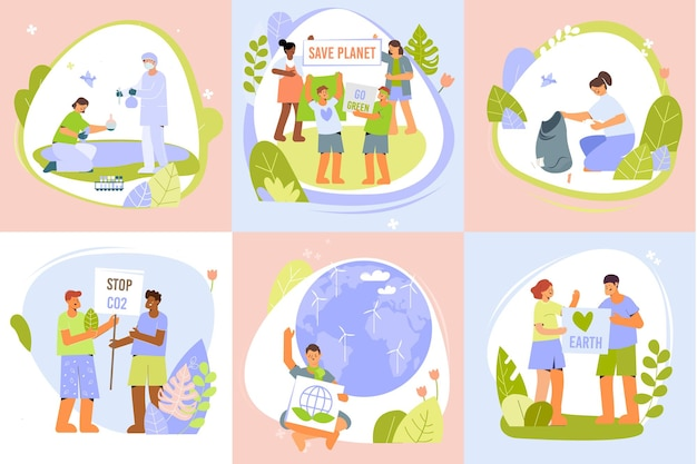 Environmental protection design concept with set of six save earth compositions with human characters