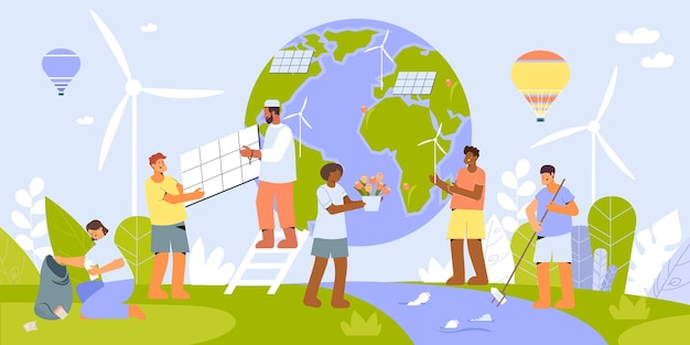 Environmental protection people flat composition with wind turbines and solar batteries