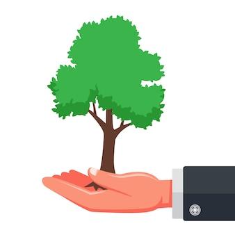 環境を守ること。若い木を植えること。自然への懸念。フラットの図。